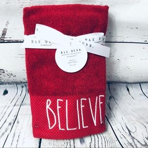 Rae Dunn BELIEVE Christmas Hand Towels Red/White 2